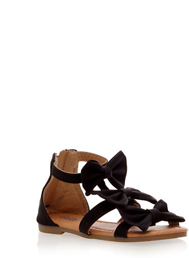 Toddler Girls Three Bow Sandals with Zipper,BLACK,large