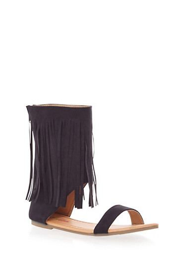 Girls Mid Height Fringe Sandal with Brushed Faux Suede,BLK,large