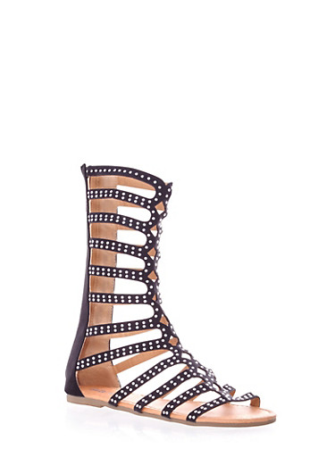 Girls Mid Calf Studded Gladiator Sandals,BLACK,large