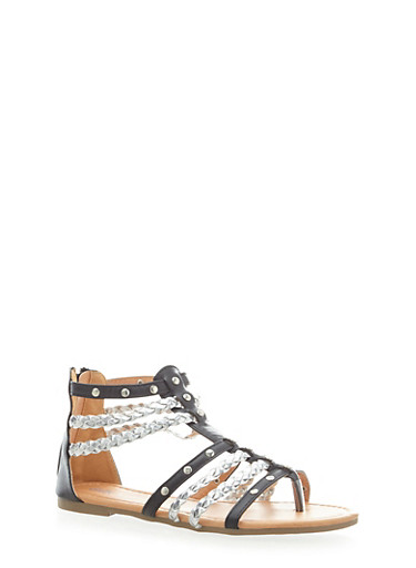 Girls Studded and Braided Sandals with Metallic Straps,BLACK,large