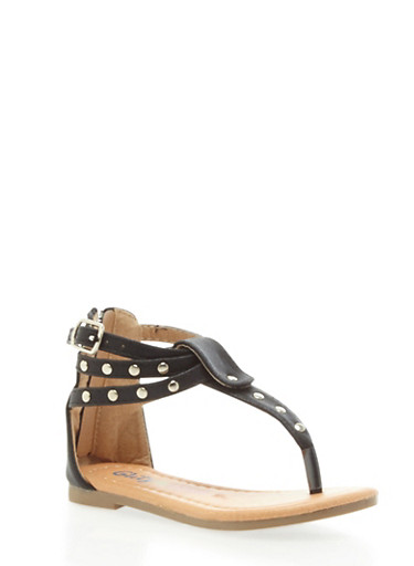 Toddler Girls Sparkly Studded T Strap Sandals with Buckled Ankle Strap,BLACK,large