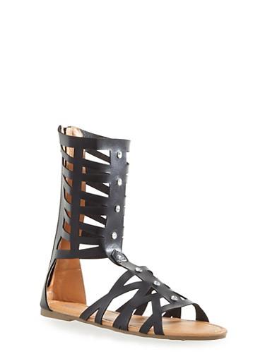 Girls Laser Cut Tall Gladiator Sandals with Rhinestones,BLACK,large