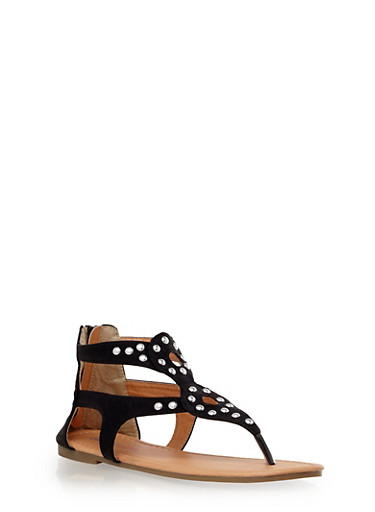 Girls Studded Cutout Sandals with Zipper,BLACK,large