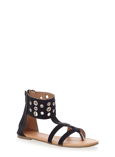 Girls Studded Ankle Cuff Sandals,BLACK,large
