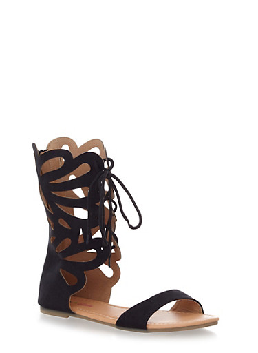 Girls Tall Butterfly Cutout Lace Up Sandals,BLACK,large
