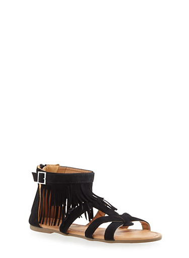 Girls Woven Fringe Sandals with Buckle,BLACK,large
