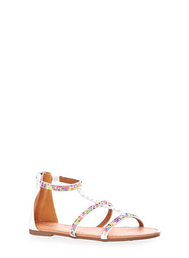 Girls Rainbow Beaded Strap Sandals with Zip Back,BLACK,large