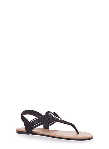 Girls Cable T Strap Sandals with Brushed Faux Suede,BLACK,large