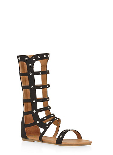 Girls 11-4 Tall Studded Faux Suede Gladiator Sandals,BLACK,large