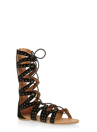 Girls 11-4 Tall Studded Faux Suede Zig Zag Gladiator Sandals,BLACK,large