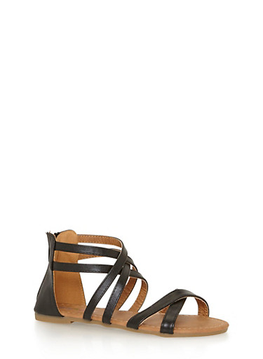Girls 11-4 Criss Cross Strappy Sandals,BLACK,large