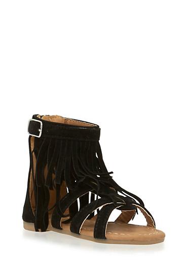 Girls 5-10 Mid Fringe Zip Back Sandals,BLACK,large