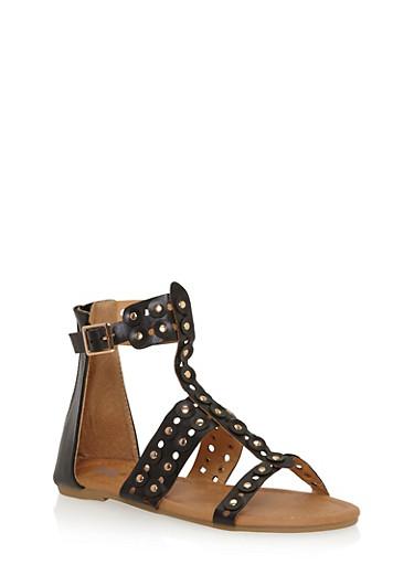 Girls 11-4 Studded Lasercut Gladiator Sandals,BLACK,large