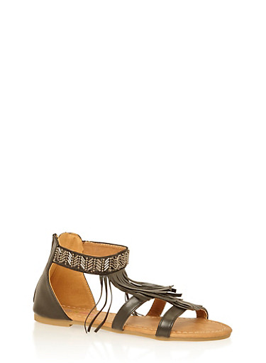 Girls 11-4 Metallic Beaded Fringe Sandals,BLACK,large