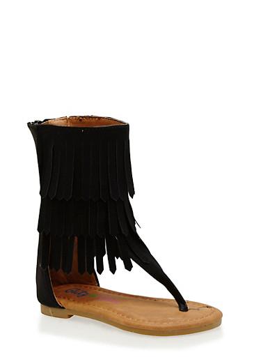 Girls 5-10 Tall Fringe Thong Sandals,BLACK,large