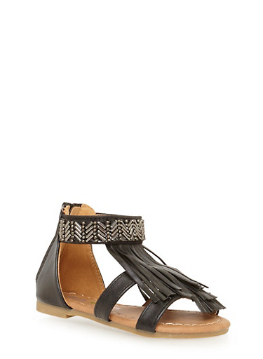 Girls 5-10 Beaded Fringe Gladiator Sandals,BLACK,large
