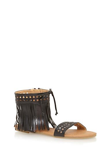Girls 11-4 Laser Cut Fringe Gladiator Sandals,BLACK,large