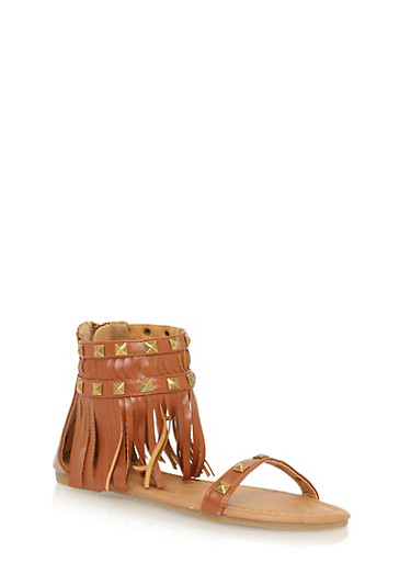 Girls 11-4 Studded Fringe Back Zip Gladiator Sandals,TAN,large
