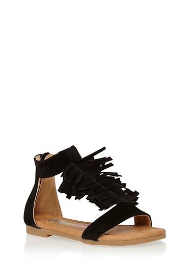 Girls 5-10 Faux Suede Fringe T Strap Sandals,BLACK,large