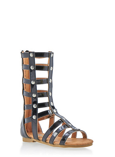Girls 5-10 Tall Caged Gladiator Sandals with Studs,BLACK,large