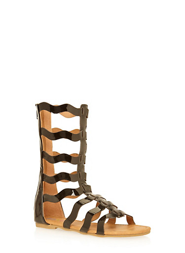 Girls 11-4 Tall Wave Strap Gladiator Sandals,BLACK,large