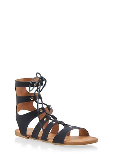 Girls 11-4 Lace Up Caged Gladiator Sandals,BLACK,large
