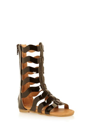 Girls 5-10 Tall Wave Strapped Gladiator Sandals,BLACK,large