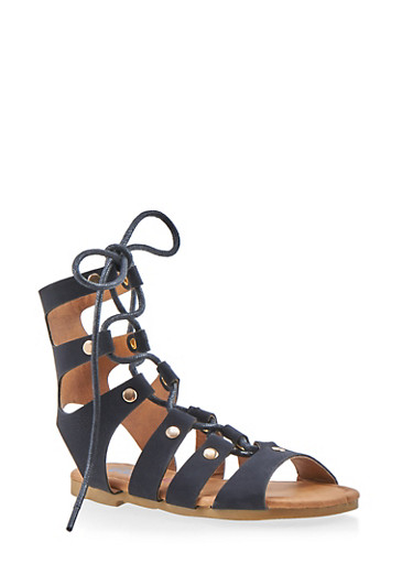 Girls 5-10 Tall Lace Up Studded Gladiator Sandals,BLACK,large