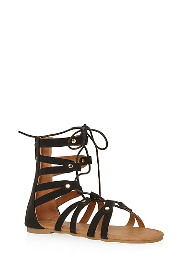 Girls 11-4 Cutout Lace Up Gladiator Sandals with Studs,BLACK,large