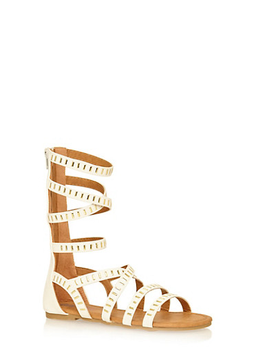 Girls 11-4 Tall Studded Faux Leather Gladiator Sandals,WHITE,large