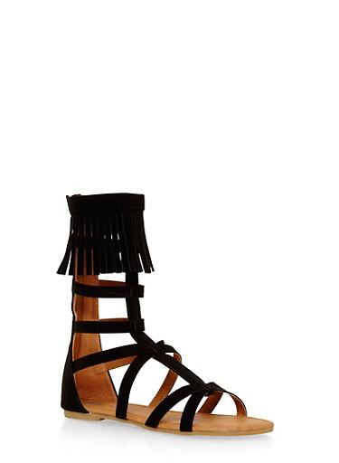 Girls 11-4 Tall Fringe Gladiator Sandals,BLACK,large