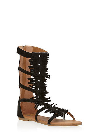 Girls 11-4 Tall Studded Fringe Trim Gladiator Sandals,BLACK,large
