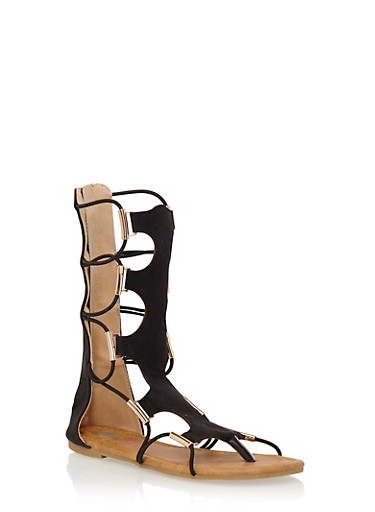 Girls 11-4 Tall Caged Gladiator Sandals with Metal Accents,BLACK,large
