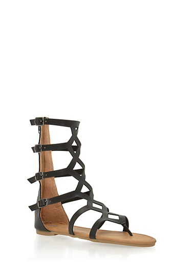 Girls 11-4 Tall Gladiator Sandals with 4 Buckle Straps,BLACK,large