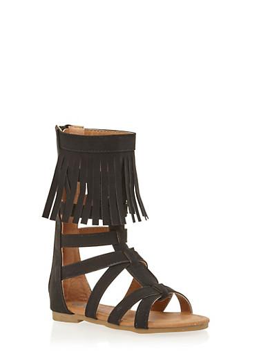 Girls 5-10 Tall Fringe Gladiator Sandals,BLACK,large