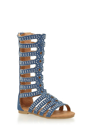 Girls 5-10 Tall All Over Studded Gladiator Sandals,DENIM,large
