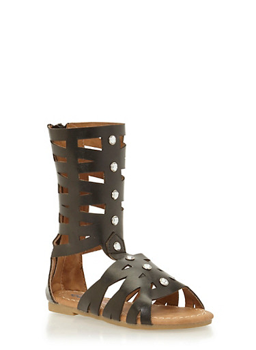 Girls 5-10 Tall Laser Cut Gladiator Sandals with Rhinestone Accents,BLACK,large