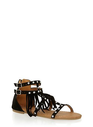 Girls 11-4 Studded Fringe Faux Suede Gladiator Sandals,BLACK,large