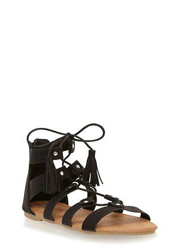 Girls 11-4 Studded Gladiator Sandals with Lace Up Tassels,BLACK,large