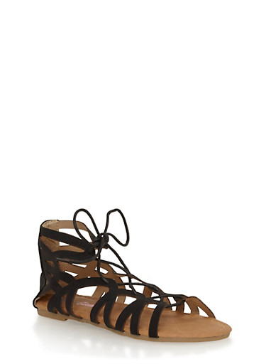 Girls 11-4 Lace Up Gladiator Sandals,BLACK,large