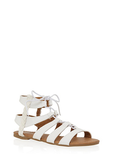 Girls 11-4 Braided Trim Tie Up Gladiator Sandals,WHITE,large