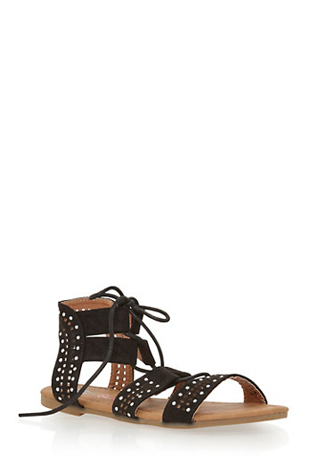 Girls 11-4 Tie Up Studded Gladiator Sandals,BLACK,large