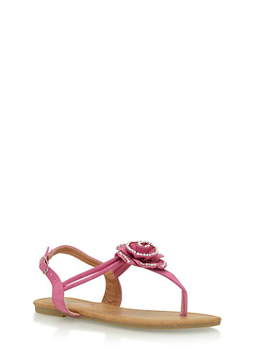 Girls 11-4 Bedazzled Flower Thong Sandals,FUCHSIA,large
