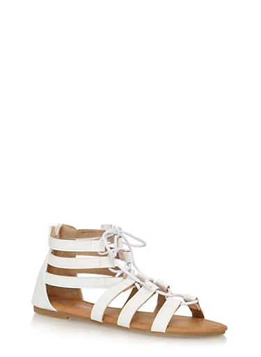 Girls 11-4 Lace Up Gladiator Sandals,WHITE,large