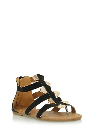 Girls 11-4 Gladiator Sandals with Staggered Metal Accents,BLACK,large