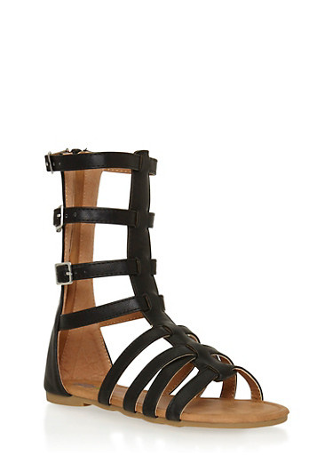 Girls 11-4 Gladiator Sandals with Buckles,BLACK,large