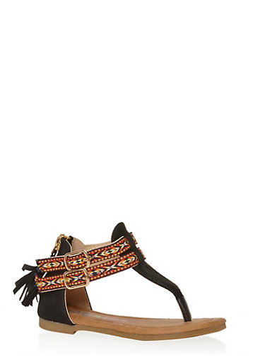 Girls 5-10 Tribal Thong Sandals with Tassel Zip Back,BLACK,large