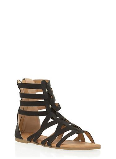 Girls 11-4 Mid Zip Back Gladiator Sandals,BLACK,large