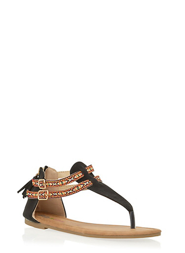 Girls 11-4 Zip Back Thong Sandals with Tribal Straps,BLACK,large