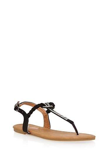 Girls 11-4 Rhinestone Braided Thong Sandals,BLACK,large